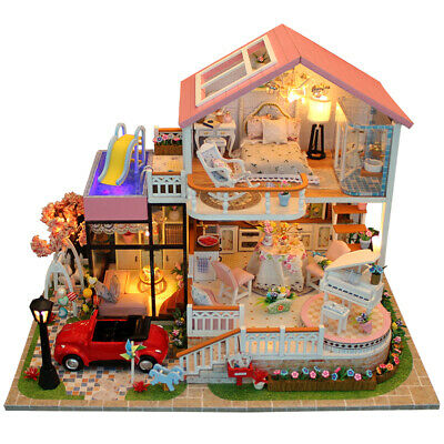 DIY Large Wooden Kids Girls Play Furniture Kit Doll House Christmas Gifts+Remote