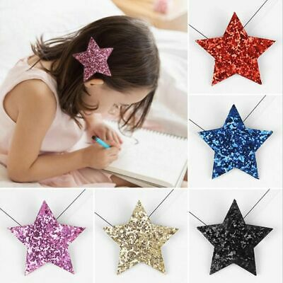 Fashion Hairpins Kids Girls Toddlers Cute Shiny Synthetic Leather Star Barrettes