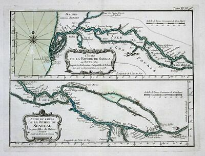 1764 - Senegal river West Africa Afrika Bellin handcolored antique map
