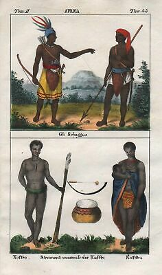 1840 - South Africa people costume Lithograph Negro natives Khoikhoi