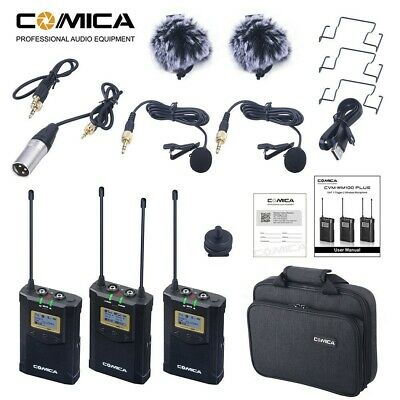 COMICA CVM-WM100 Plus 48-Channel UHF Wireless Microphone for Camera Camcorder