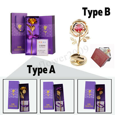 24k Gold Plated Rose Flower Anniversary Valentines Day Romantic Gift Box