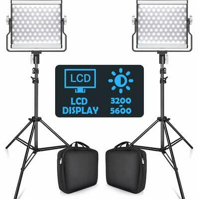 Travor L4500 Bi-color 2 PACK Dimmable LED Video Light and 2M Stand Lighting Kits