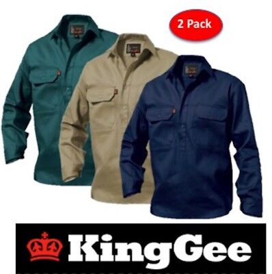 King Gee  - Pack Of 2 - Mens Closed Front Long Sleeve Drill Work Shirt - K04020