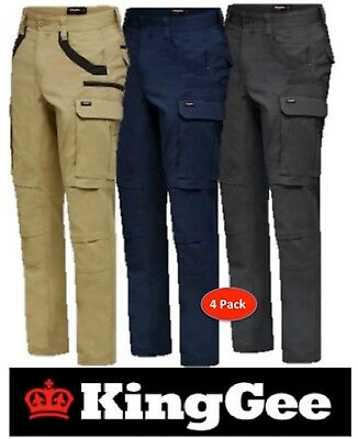 King Gee-4 Pack- Mens Tradies Stretch Cargo Pants-Straight Fit-Trousers-K69860