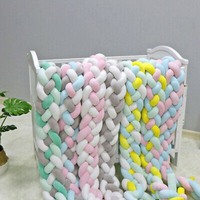 4 Colors Baby Cot Weave Edge Protection Cot Knot Cushion Bed Surround Bumper 2M