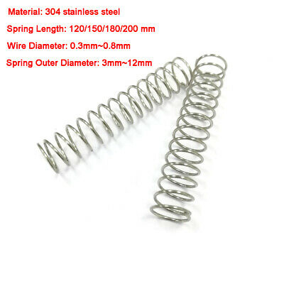 304 Stainless Steel Compression Springs Length 120/150/180/200 mm, Various Sizes