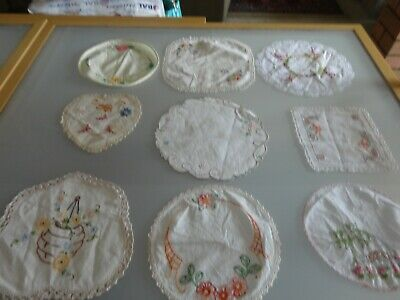 9 Vintage small med Doilies doiley  embroidered crochet edge