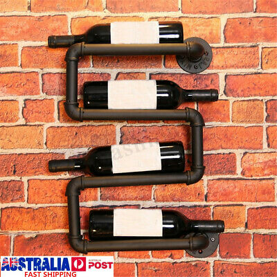 4Bottle Industrial Wall Mounted Wine Rack Storage Holder Organizer Display Shelf