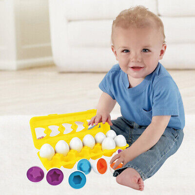 12 Puzzle Egg Match Smart Shape Colors Educational Learning Toy Kid Easter Egg R
