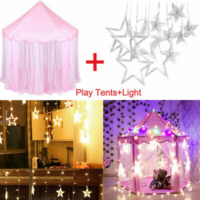 new arrival 2189e 95a66 GIRLS PRINCESS CASTLE Cute Playhouse Children Kids Play Tent W/ LED Lights  3M US