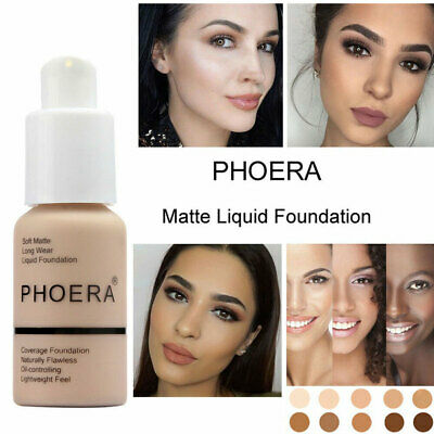Phoera Perfect Beauty Face Liquid Foundation Base Soft Matte Long Wear Oil 30ml