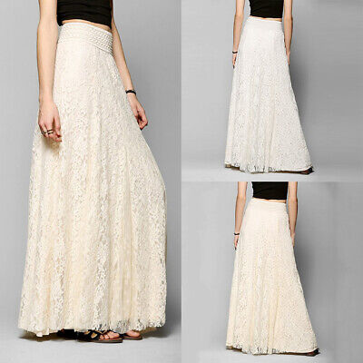 Women Summer Lace Long Maxi Dress Lady Elastic High Waist Beach Pleated Skirt AU