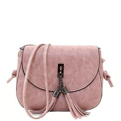 Women PU Leather Tassel Decorated Solid Color Small Messenger Crossbody Bag