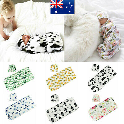 Newborn Baby Swaddle Pouch Muslin Blanket Sleeping Wrap Bag Soft Cotton With Hat