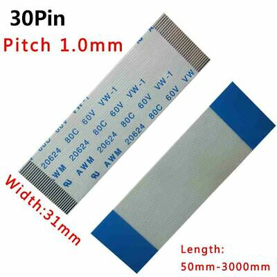 Pitch 1.0mm 30-Pin FFC/FPC Flexible Flat Cable 80C 60V VW-1 W:31mm L:50mm-3000mm