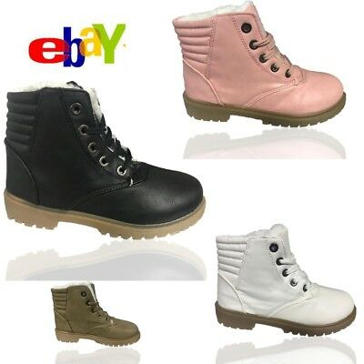 Ladies  Womens Flat Grip Sole Fur Line Winter Army Combat Ankle Boots Shoes Size