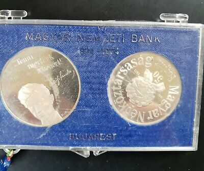 1973 Hungary Large Silver PROOF 50 &100 Forint In a Mint Sealed Plastic Box.....