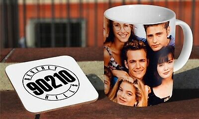 Beverly Hills 90210 Coffee MUG + Wooden Coaster Gift Set