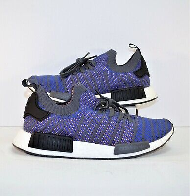 6d531952271c5 Adidas Boost NMD R1 STLT Primeknit Blue   Black Running Shoes Sz 10 NEW  CQ2388
