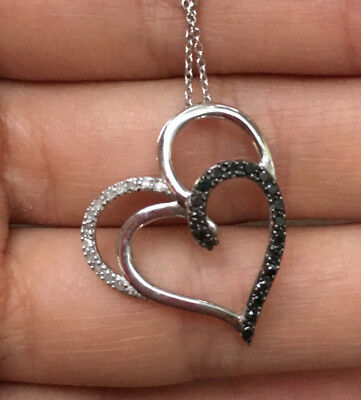 925 Sterling Silver Natural Black White Diamond Double Heart Pendant Necklace