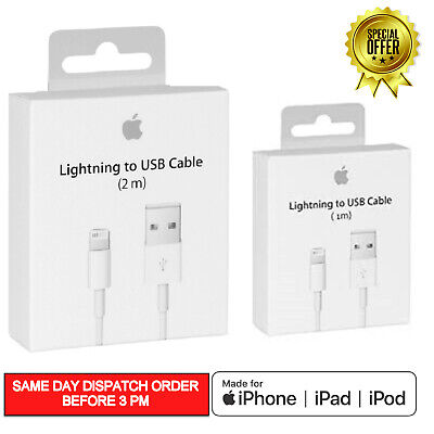 1M 2M GENUINE Apple Lightning USB Data Charger Cable iPhone 6 7 8 X XR  XS MAX