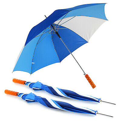 Unisex Automatic Golf Umbrella Wooden Handle Canopy Rain Sun Wind Shield Brolly