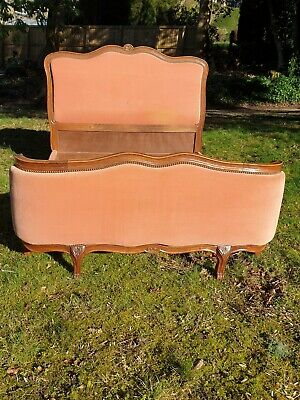 """Original French Double bed 4'6"""" with original fabric."""