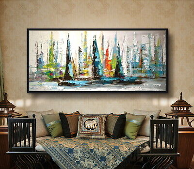 Huge Modern Home Decor Hand Drawn Abstract Sailboat Landscape Oil Painting Art