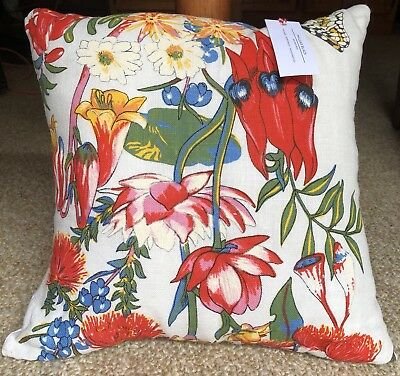 Phileas Black Melbourne Vintage Linen Handcrafted Cushion Australian Wildflowers