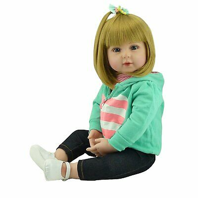 "18"" Realistic Looking Reborn Baby Girl Dolls Vinyl Silicone Lifelike Gold Hair"