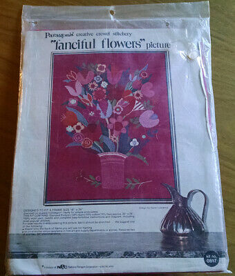 RARE Unopened Paragon Needlecraft Crewel Kit #0817 - Fanciful Flowers