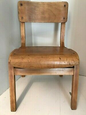Vintage Retro Mid Century Child's School Nursery Wooden Beech & Ply Chair
