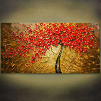 Modern Abstract Large Hand-painted Red Tree Oil Painting Home Decor Art Canvas