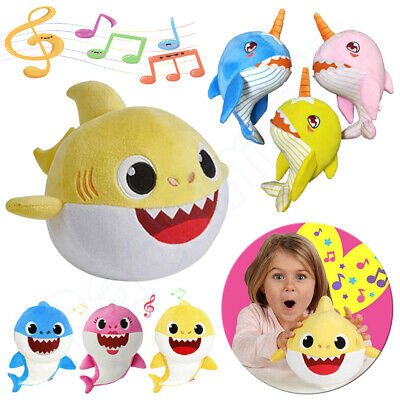 LATEST Baby Shark Singing Plush Toys Music Doll English Song Cartoon Kids Gifts