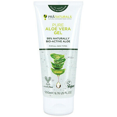 PraNaturals 99% Pure Organic Aloe Vera Gel Vegan Soothing Skin Moisturiser 200ml