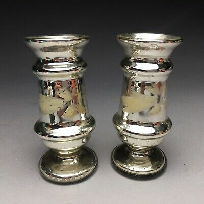 Pair Of Antique Victorian Enameled Mercury Glass Candlesticks