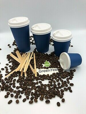 NAVY BLUE PAPER CUPS 100 x 12oz Disposable Coffee Cold Hot Drinks & WHITE Lids