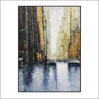 Modern City Abstract Hand Painted Oil Painting Living Room Decor Art On Canvas