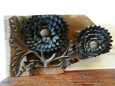 Antique Architectural Oriental Carved Wood Salvage Piece - MCM / Arts & Crafts