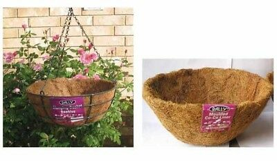 Metal Wire Hanging Flower Basket Green 250mm Plant Verandah Porch with Liner