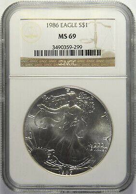 1986 Silver American Eagle NGC MS-69 (4/6)