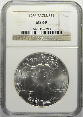 1986 Silver American Eagle NGC MS-69 (5/6)