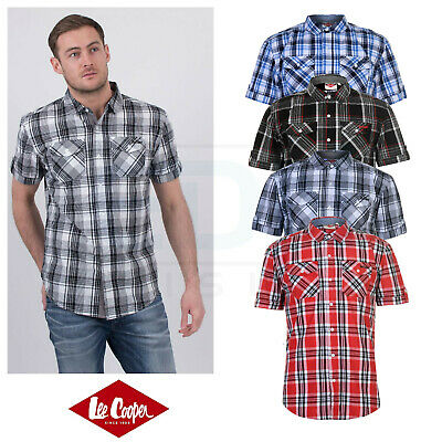 Mens Lee Cooper Short Sleeve Checked Shirt New Cotton Top Size S M L XL XXL XXXL