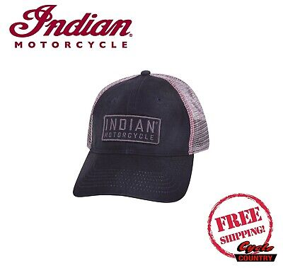 da535250a4221 Genuine Indian Motorcycle Block Patch Trucker Hat Snap Back Navy Scout Chief