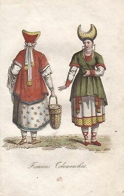 1800 Chuvash Volk people Türkei Turkey Tracht costume Kupferstich engraving