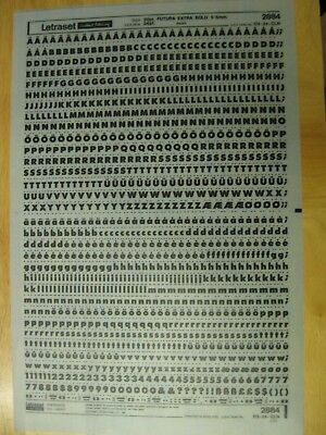 1 x Letraset Upp/Low Case Letters/Num Futura Extra Bold 20pt 5.5mm Sheet 2884 *