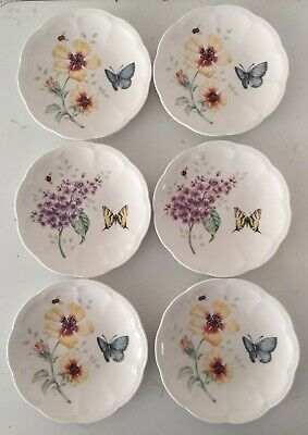 "Set of 6 Lenox BUTTERFLY MEADOW 6.5"" Party Plates With Butterflies"