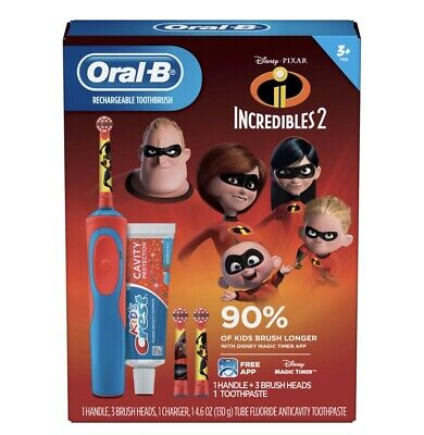 Oral-B, Kids Rechargeable Electric Toothbrush Gift Set, Disney Incredibles 2