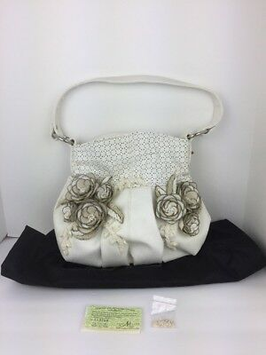 0a145d51c0f9 NEW Mary Frances Purse White Leather Beading Chains 3D Roses Pierced COA